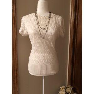 Dressbarn White Lace Short Sleeve Sweater